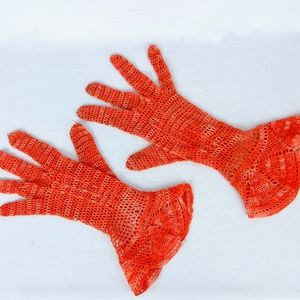 Vintage Crochet Gloves, Orange Openwork, Sz Small